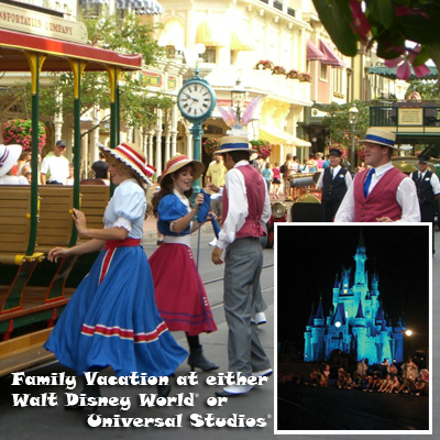 FAMILY VACATION - Enjoy a family vacation in Florida for 2 adults and 2 children.  Choose from either Walt Disney World<sup>&reg;</sup> or Universal Studios<sup>&reg;</sup> Orlando.  Includes 4 nights at a park resort and 4 days of park admission. Airfare not included.
